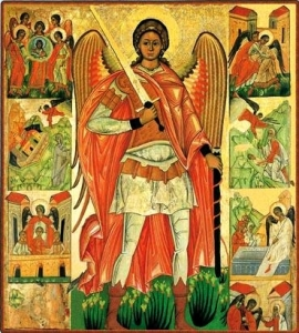 St Michael the Archangel, who battles with the devil and expels him from  heaven