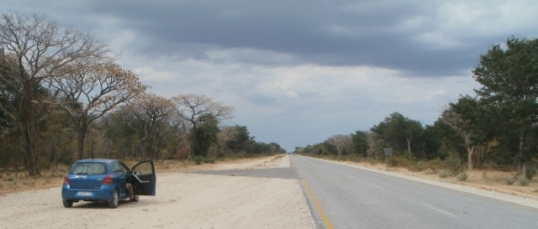 The endless highway, crossing northern Namibia from west to east