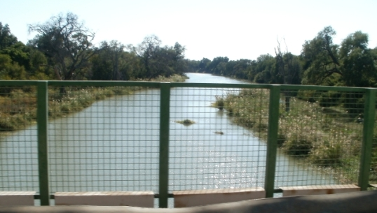Crossing the Limpopo from Botswana (on the left) to South Africa (on the right)