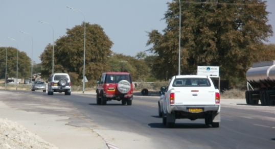The main streets of Maun are fairly busy ...