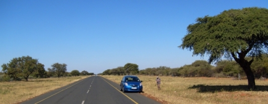 The road from Ramatlabama to Kanye, in Botswana