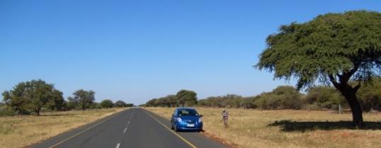 The road from Ramatlabama to Kanye, in Botswana