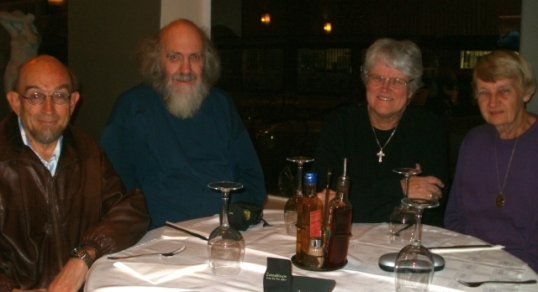 Justin Ellis, Steve Hayes, Val Hayes, Enid Ellis -- at the Sardinia Restaurant, Windhoek. 11 May 2013