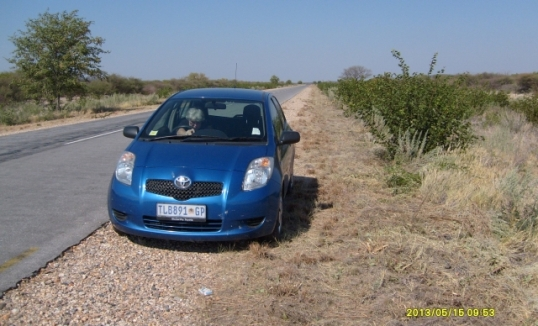 Our little Toyota Yaris passed the 200000 km mark between Outjo and the Etosha National Park