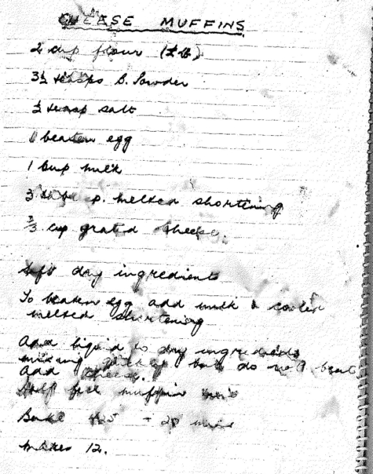 Dorothy Greene's Cheese Muffin Recipe