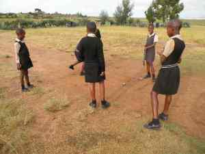 Girls playing hoscotch in Lesotho