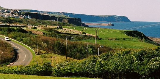 Lowca, Cumbria, with Whitehaven harbour and St Bees Head in the distance. 10 May 2005