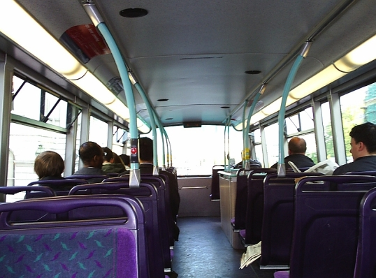 On a London bus.