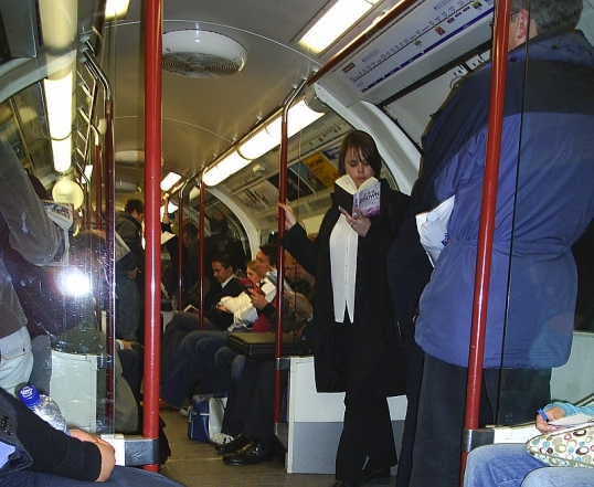 Bakerloo line train in the London rush hour.