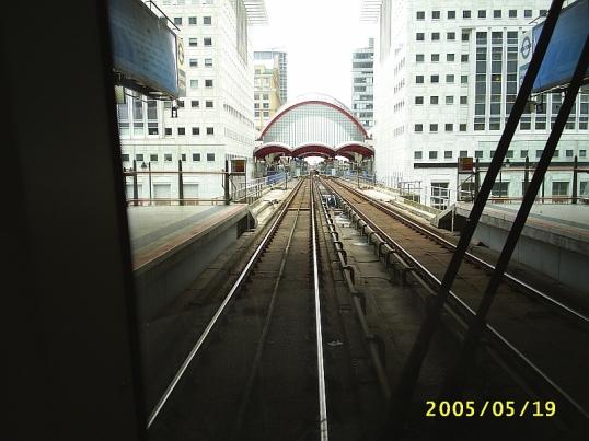 Docklands light railway, but no docks in sight.