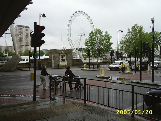 "The Embankment from ground level, with push chairs rather than the ""baby carriages"" of the 1960s."