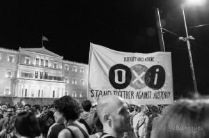 Celebrations after the anti-austerity referendum in Athens (Photo by Julia Bridget Hayes)
