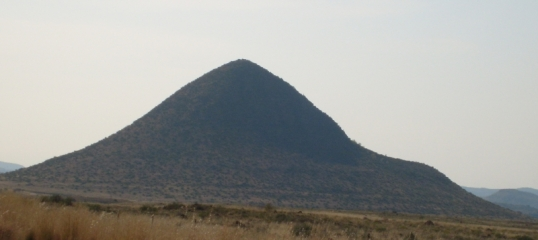 Conical hill near Bethulie -- disguising the nose cone of an alien spaceship?