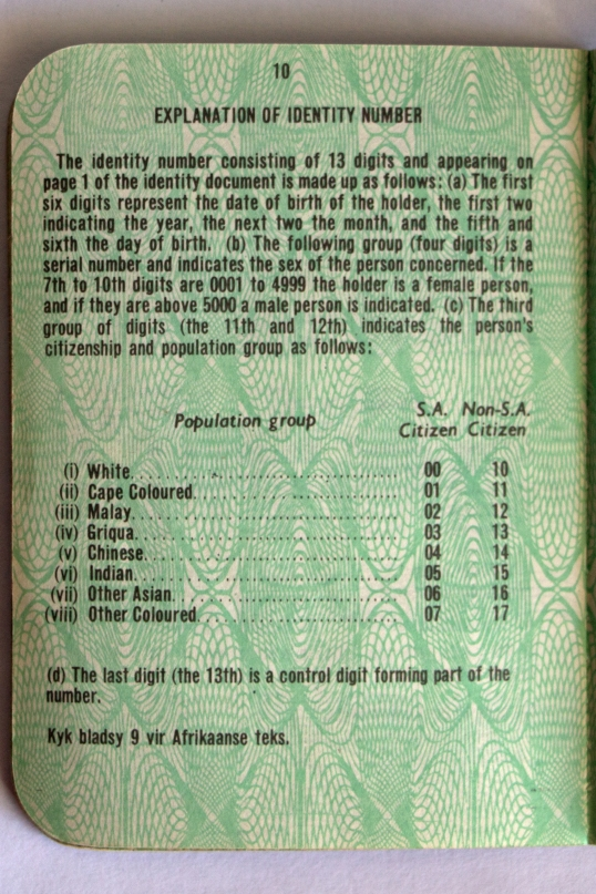Page from apartheid-eria ID book