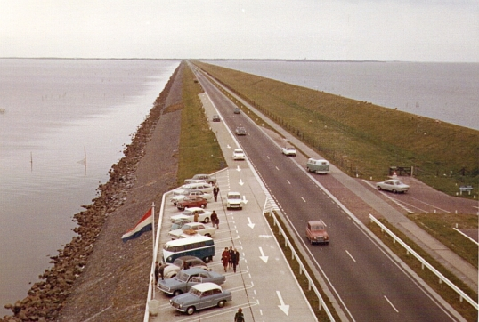 Afsluitdijk, separating the North Sea from the Ijsselmeer.