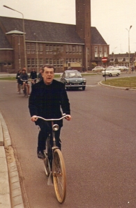 Brother Roger cycling from Bergen to Alkmaar, 27 September 1966