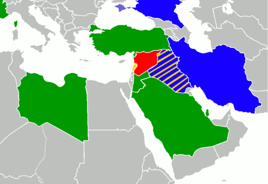 Syrian Civil War. Syria - Red. Countries that support Syrian Government, Bluue. Countries that support Syrian rebels - Green.